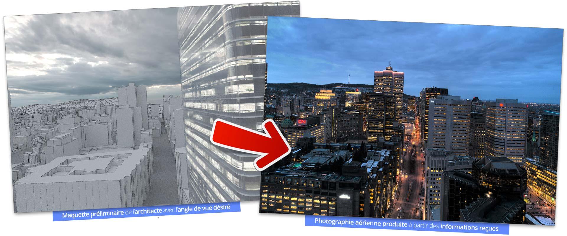 Photographie aérienne basée sur les demandes de l'architecte